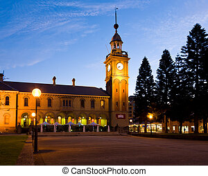 Former Customs House building at night Newcastle Australia