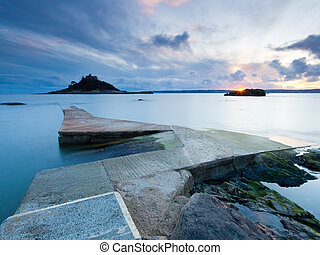 Jetty at Marazion Cornwall with St Michaels Mount in the...