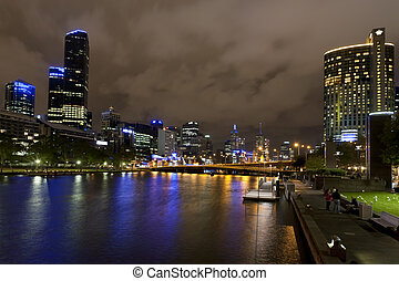 River Yarra and the CBD at night, Melbourne Victoria,...