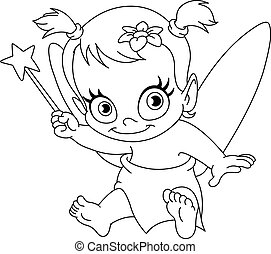 Outlined baby fairy