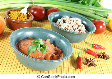 red Curry - Indian red Curry with wild rice, chilli and...