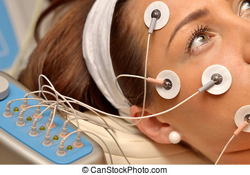 young woman in beauty salon - young woman during cosmetic...