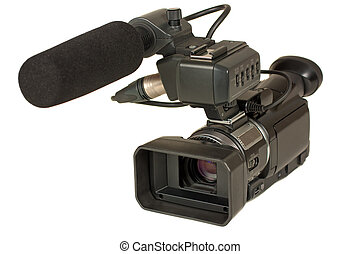 Video camera - High definition video camera isolated over...