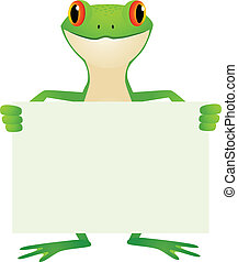 Frog with blank sign - Vector illustration of frog with...