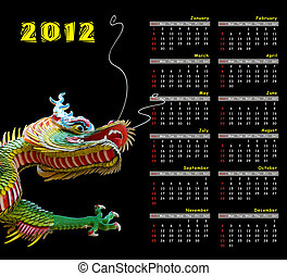 2012, calendrier, dragon
