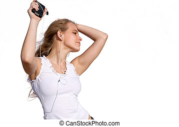young woman or teen dancing to music from personal stereo