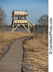 Bird watching tower - Bird watching ower in the early spring