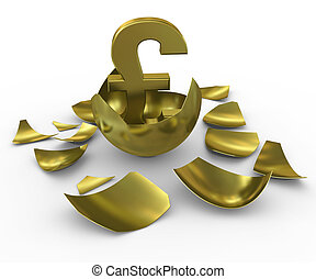 Gold GBP sign hatched from eggs of gold