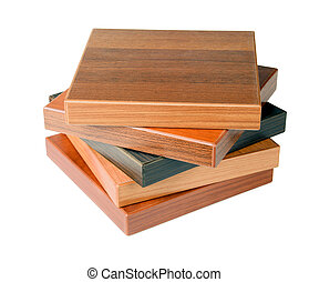 Wood floor samples - Stack of wood floor samples isolated on...