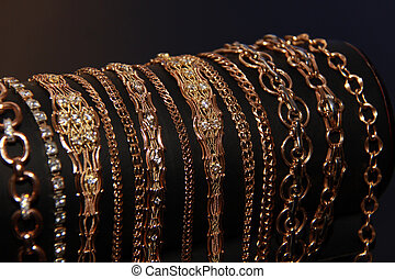 Gold chains close up
