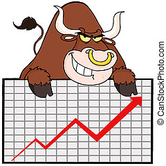 Brown Bull With Business Graph - Bull Over A Sign Banner...
