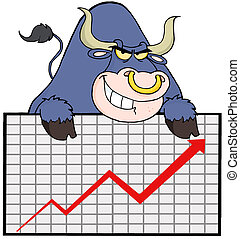 Blue Bull With Business Graph