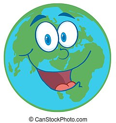 Planet Earth Cartoon Character - Happy Earht Cartoon Mascot...