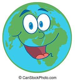 Planet Earth Cartoon Character - Happy Earht Cartoon Mascot...