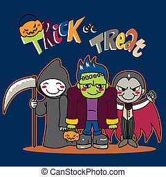 Trick or Treat - Three little kids in funny monster costumes...