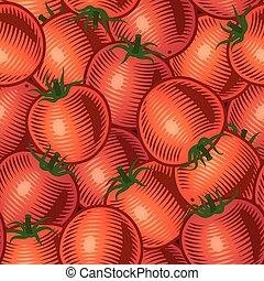 Seamless tomato background in woodcut style. Vector...