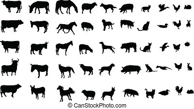 farm animals - Collection of farm animals silhouettes -...