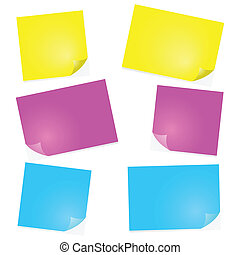Post-it notes - Illustration of post-it notes in different...