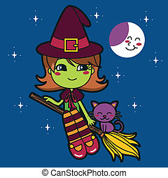 Cute Green Witch - Cute green witch flying in a broom at...
