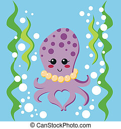 Lovely Octopus - Lovely female octopus with pearl necklace...
