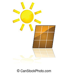 Solar power - Glossy illustration showing a solar panel...