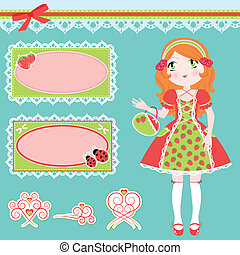 cute girl and design elements - set of girl in strawberry...