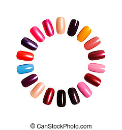 nails - Colorful frame. Figures on nails against a white...