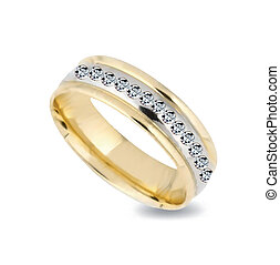 Gold ring with diamonds. Vector illustration