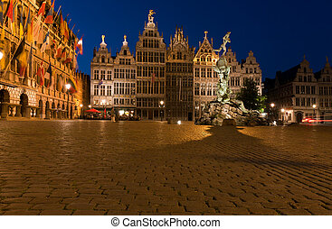 Brabo Fountain and guild houses at Grote Markt, Antwerp,...