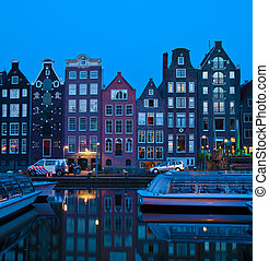 Canal houses on Singel, Amsterdam, Netherlands