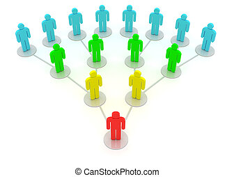 Hierarchy - Group of people in a social network isolated on...