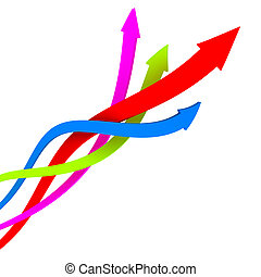 Diagonal movement - Vibrant color coiling arrows upward