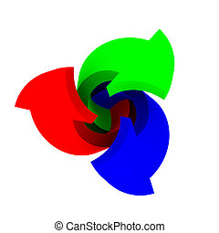 RGB twirl - Three arrows RGB colours rotate on a white...