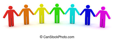 Community concept - Group of people standing in a row. 3d...