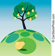 pear tree on grass - illustration of pear tree on grass