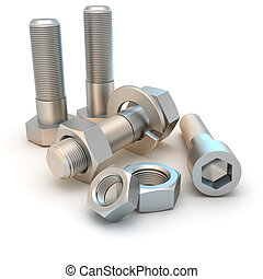 Nuts and bolts - Metal bolts and screws isolated on the...