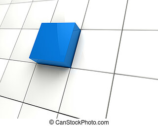 3d cube blue area - 3d cube blue white area square abstract