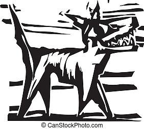 Woodcut Dog