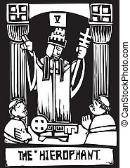 Tarot Card Hierophant - Woodcut image of the Tarot Card for...