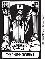 Tarot Card Hierophant - Woodcut image of the Tarot Card for...