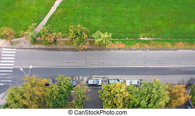 top view of  a crossroad from a balcony
