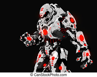 Battle robot - 3d render of futuristic battle robot