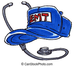 Emt hat - An EMT hat with a stethoscope