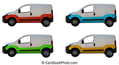 White vans - Four white vans isolated on a background