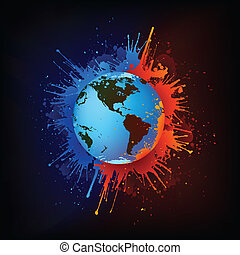 Globe in Paint Isolated on Black Background. Vector.