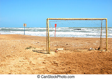 Football gate on the seashore