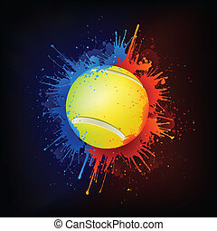 Tennis Ball in Paint Isolated on Black Background. Vector.