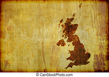 Antique Style Map of Great Britain - A grunge, antique style...