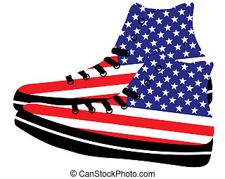 Sneakers with American flag