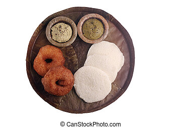 Idly and medu vada - Idly, medu vada and chutney on leaf...